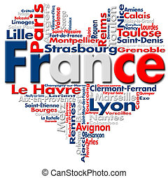 I Love France - Written France and French cities with heart-...