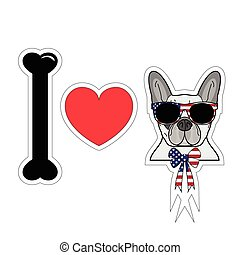 I love french bulldog with american symbols