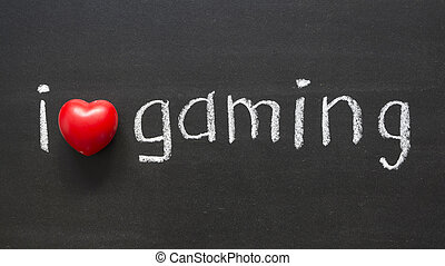 I love gaming handwritten on the school blackboard
