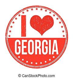 I love Georgia grunge rubber stamp on white background, vector illustration