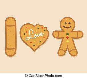 I love ginger bread man symbol, vector illustration