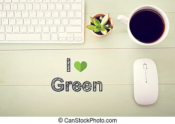 I Love Green concept with workstation