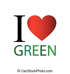I love green with red heart