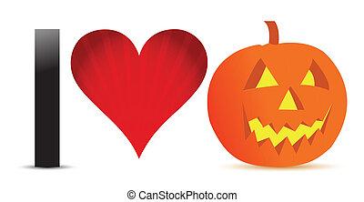 I love halloween pumpkin banner ill