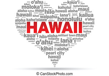 I Love Hawaii Illustration on white background.