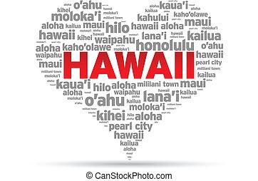 I Love Hawaii Illustration on white background.