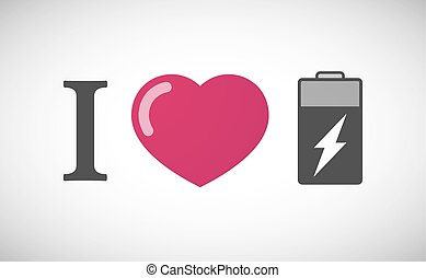 """""""I love"""" hieroglyph with a battery"""