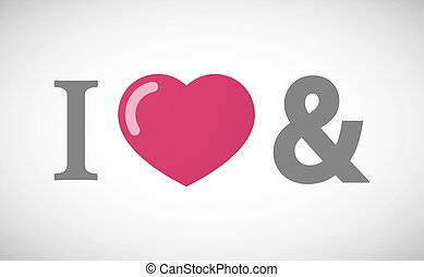 """""""I love"""" hieroglyph with an ampersand"""