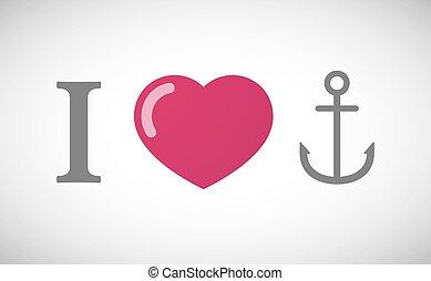 """I love"" hieroglyph with an anchor"