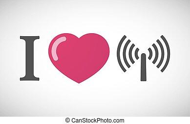 """I love"" hieroglyph with an antenna"