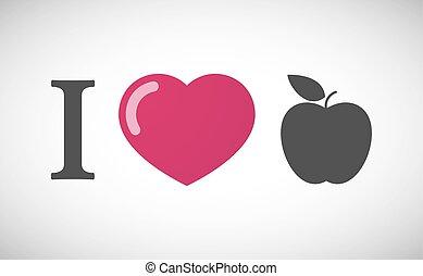 """I love"" hieroglyph with an apple"