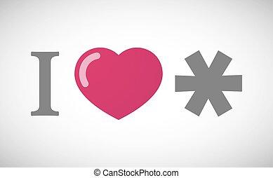 """I love"" hieroglyph with an asterisk"