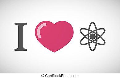 """I love"" hieroglyph with an atom"