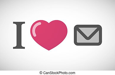 """""""I love"""" hieroglyph with an envelope"""