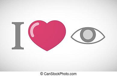 """I love"" hieroglyph with an eye"