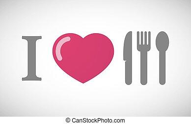 """I love"" hieroglyph with cutlery"