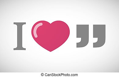 """""""I love"""" hieroglyph with  quotes"""