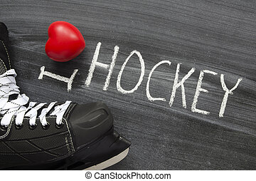 love hockey - I love hockey phrase handwritten on the school...