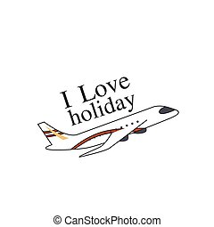 I Love Holiday Flying Plane Background Vector Image