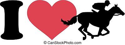 I love Horse race silhouette