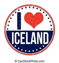 I love Iceland stamp - I love Iceland grunge rubber stamp on...