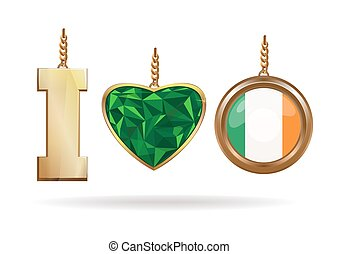 I love Ireland. Patriotic jewelry. Emerald Heart in a gold frame