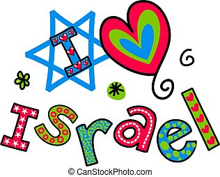 I Love Israel Cartoon Doodle Text - Simple hand drawn doodle...