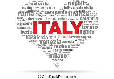 I Love Italy Illustration on white background.