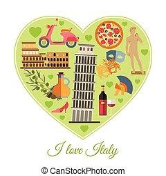 I love Italy. Isolated heart shape with Italy flat icons.