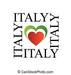I love italy with italian flag