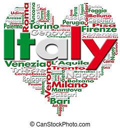 I Love Italy - Written Italy and Italian cities with heart-...