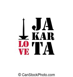 I love Jakarta Word Text with Handwritten Font and Red Love Hearts Vector Image Illustration