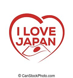 I love japan with outline of heart and japanese flag, icon...