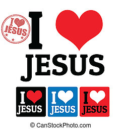 I love Jesus sign and labels on white background, vector...