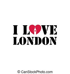 I love London hand drawn vector lettering and Big Ben watch Tower
