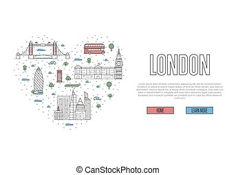 I love London poster in linear style