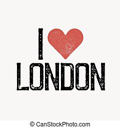 """I love London"" text with red heart. T-shirt print design template. Vector illustration. Isolated on white background."