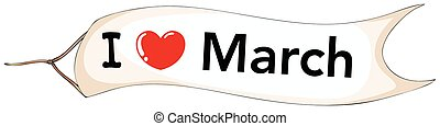 I love March sign on flag illustration