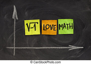 square root of negative number - I love math concept, colorful sticky notes, handwriting, white chalk drawing on blackboard