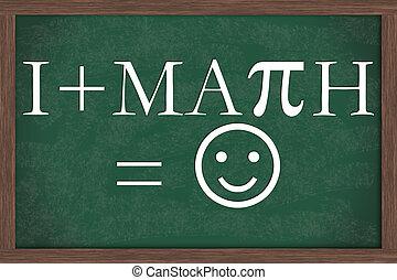 I Love Math Equation Chalkboard, A chalkboard with I love...