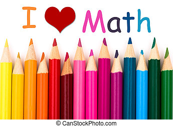 I Love Math, A pencil crayon border isolated on white...