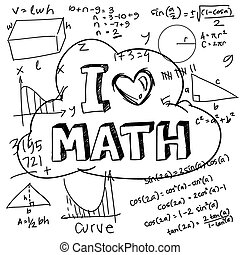 I Love Math - Vector illustration of math formulas drawn...