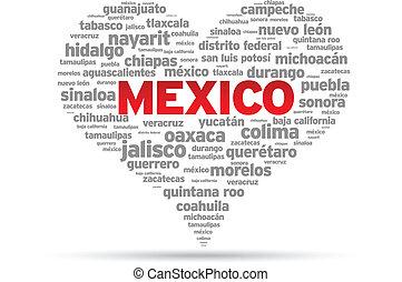 I Love Mexico Illustration on white background.