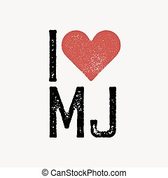"""I love MJ"" text with red heart. T-shirt print design template. Vector illustration. Isolated on white background."