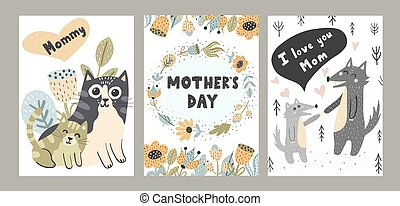 I Love Mom cards set with cute animals