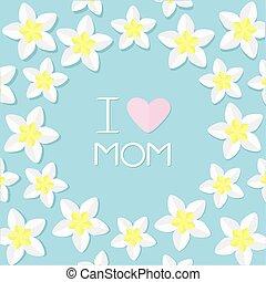 I love mom. Greeting card with heart. Plumeria Tropical flower icon set. Frangipani  Hawaii, Bali plant Flower round frame. Blue background. Flat design