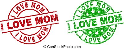 I LOVE MOM Round Stamp Seals Using Corroded Style