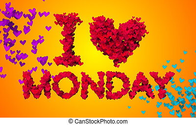 I love Monday Particles Heart Shape 3D orange background