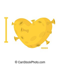 I love moon. Heart symbol from yellow planet with craters. Vector illustration.