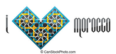I love Morocco. Vector iluustration. - I love Morocco. Heart...